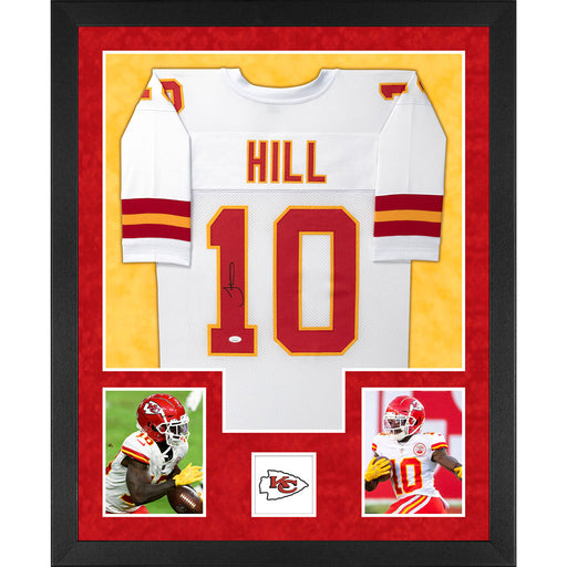 Tyreek Hill Signed Kansas City Double-Suede Vertical Framed White Jersey (JSA)