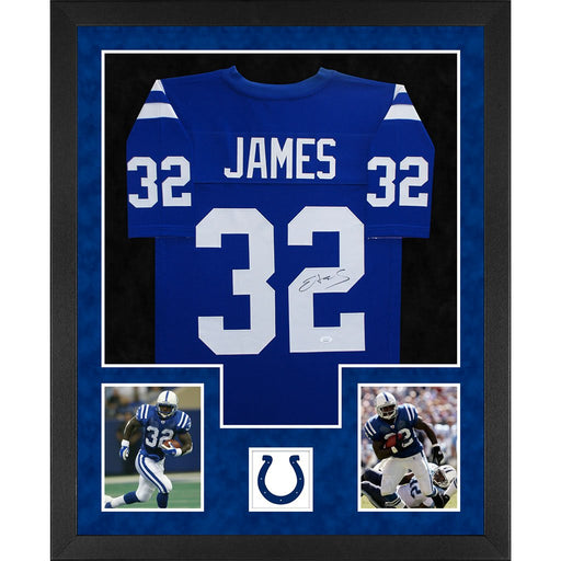 james autographed indianapolis colts blue double suede framed football jersey