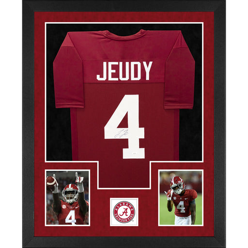 Jerry Jeudy Signed Alabama Double-Suede Vertical Framed Red Jersey (JSA)