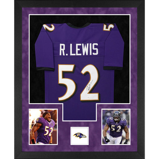 Ray Lewis Signed Baltimore Double-Suede Vertical Framed Purple Jersey (JSA)