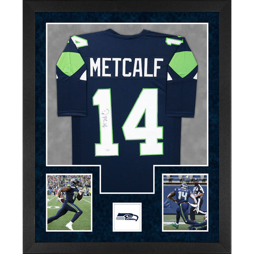 DK Metcalf Signed Seattle Double-Suede Vertical Framed Custom Blue Jersey (JSA)