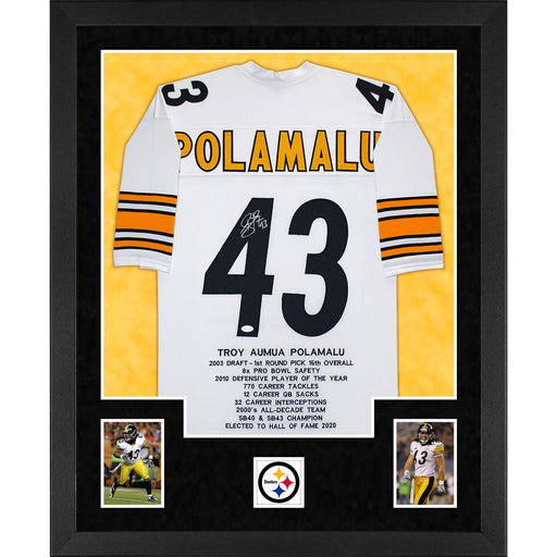 polamalu autographed pittsburgh steelers stats white double suede framed football jersey
