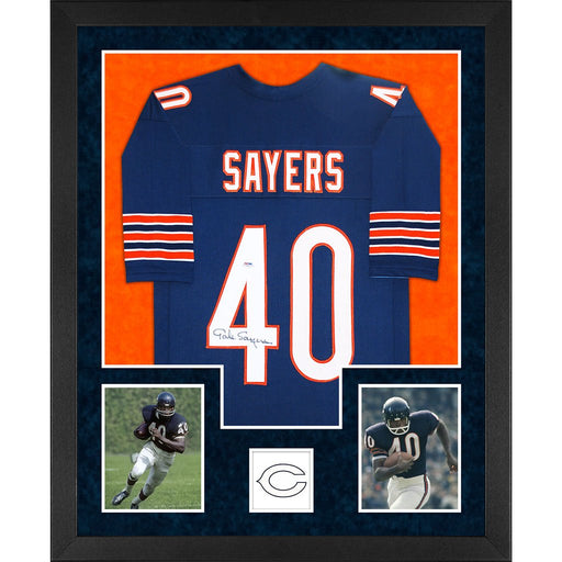 sayers autographed chicago bears blue double suede framed football jersey