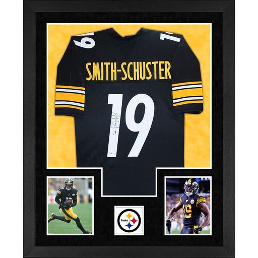 smith schuster autographed pittsburgh steelers black double suede framed football jersey