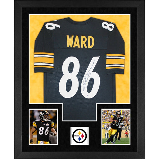 ward autographed pittsburgh steelers sb xl mvp black double suede framed football jersey