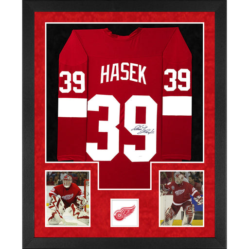 Dominik Hasek Signed Detroit Double-Suede Vertical Framed Red Jersey (JSA)