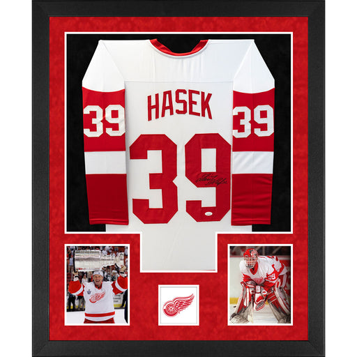 Dominik Hasek Signed Detroit Double-Suede Vertical Framed White Jersey (JSA)