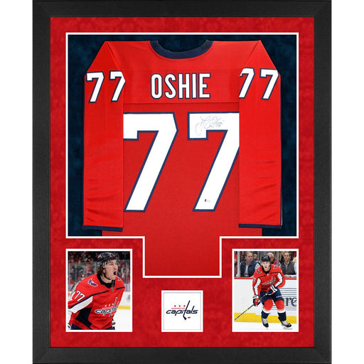 oshie autographed washington capitals red double suede framed hockey jersey