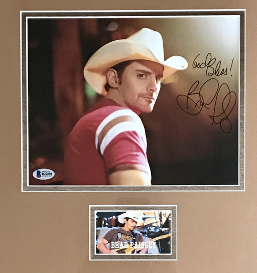 brad paisley signed framed autograph display bas b22001 certificate of authenticity