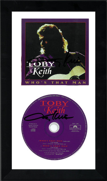Dual-Signed Toby Keith Who's That Man Album CD Cover And CD 6.5x12 Custom Framed (JSA CC09638/CC09637)