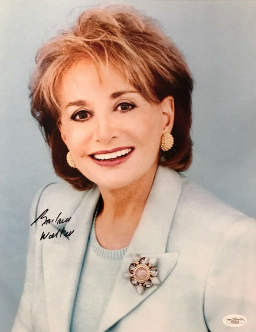 barbara walters signed 11x14 jsa f87944 certificate of authenticity