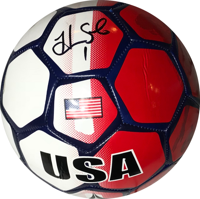 Hope Solo Autographed Full Size USA Soccer Ball Red/White/Blue (JSA)