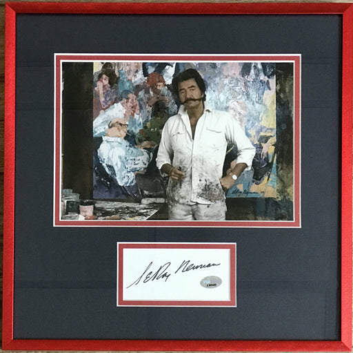 leroy neiman signed framed autograph display psa 88508 certificate of authenticity