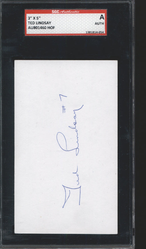 ted lindsay signed index card detroit red wings sgc certificate of authenticity
