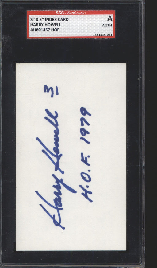 harry howell signed index card new york rangers sgc certificate of authenticity