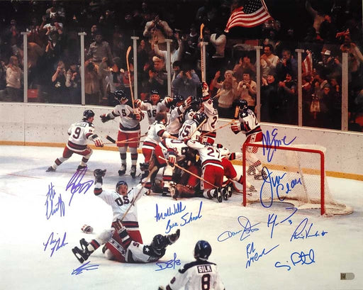 1980 miracle on ice usa hockey team signed signed 16x20 14 signature photo aiv moi14a certificate of authenticity