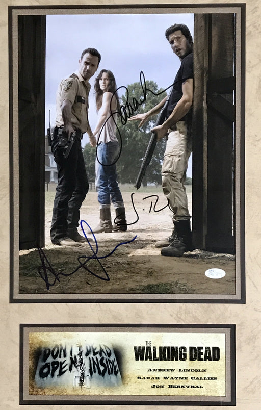 Andrew Lincoln/Jon Bernthal/ Sarah Wayne Callies Signed Framed Autograph Display The Walking Dead- Season 2 (JSA P02125)