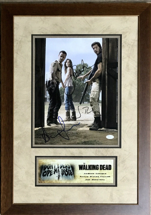 andrew lincolnjon bernthal sarah wayne callies signed framed autograph display the walking deadseaso certificate of authenticity