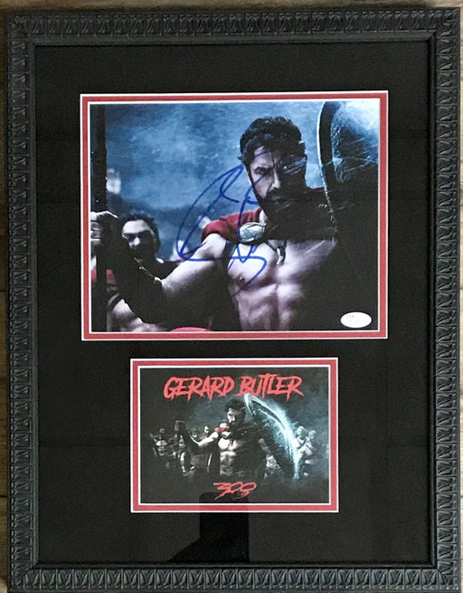 gerard butler signed framed autograph display as king leonidis from 300 jsa r63001 certificate of authenticity