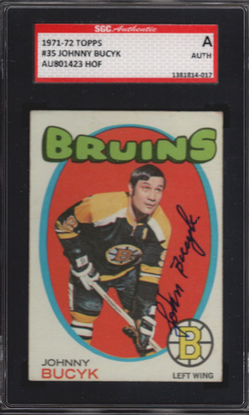 1971 72 topps signed 35 johnny bucyk boston bruins sgc top view