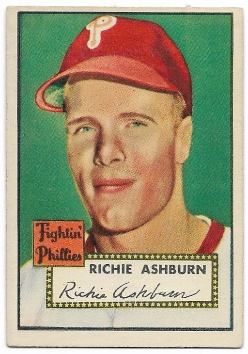 1952 topps 216 richie ashburn philadelphia phillies exmt certificate of authenticity