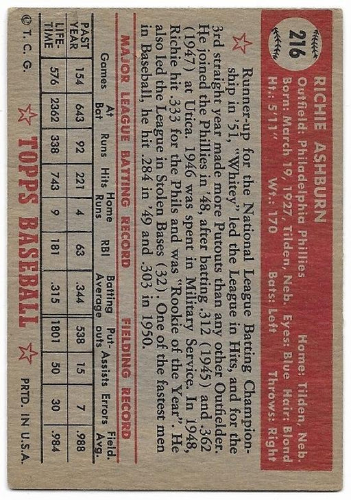 1952 topps 216 richie ashburn philadelphia phillies exmt top view
