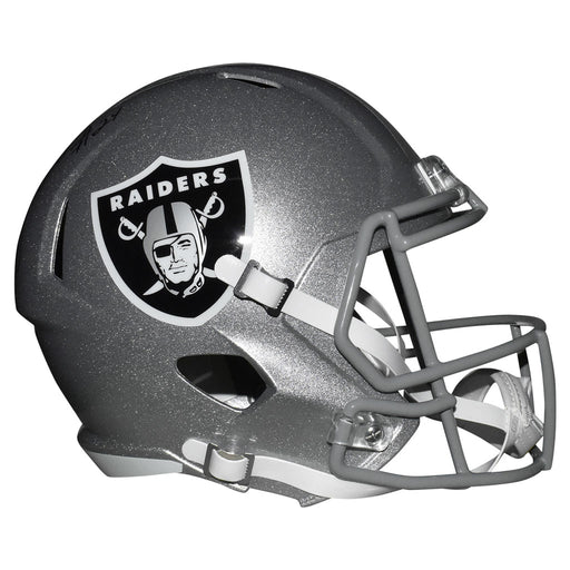 Johnathan Abram Signed Las Vegas Raiders Speed Full-Size Replica Silver Football Helmet (JSA)