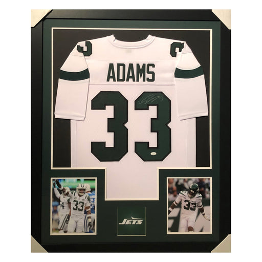 adams jets white autographed framed football jersey