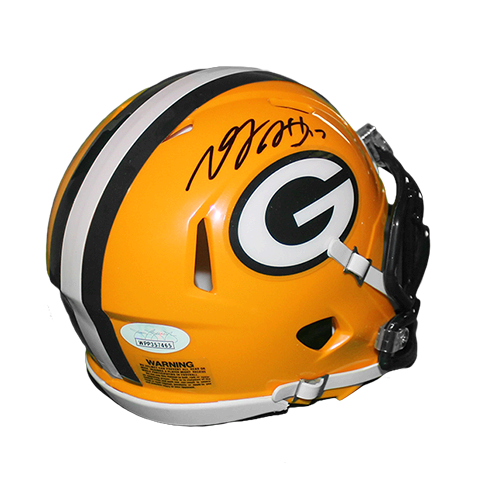 Davante Adams Packers Autographed Mini Speed Football Helmet Yellow (JSA)