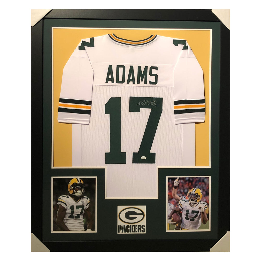 adams packers white autographed framed football jersey