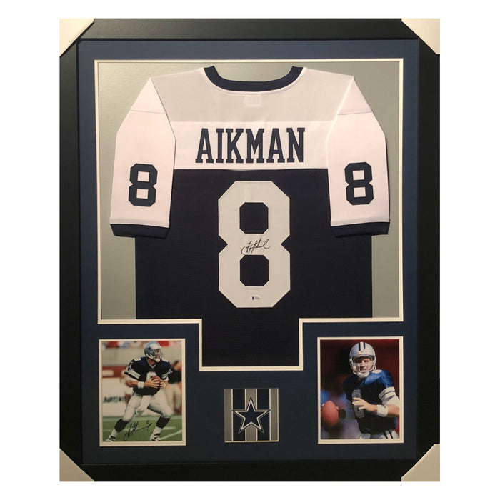 aikman cowboys thanksgiving autographed framed football jersey