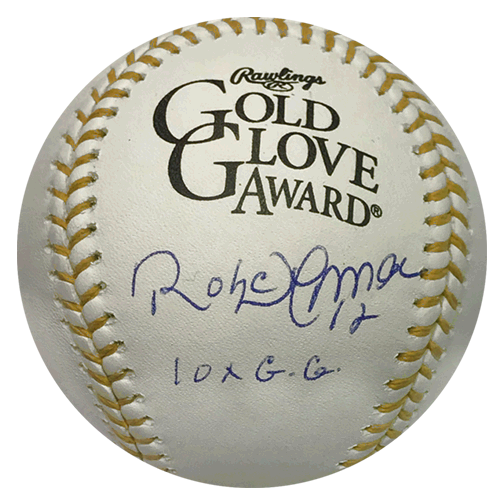 Roberto Alomar Autographed Gold Glove Official Major League Baseball (JSA) 10x Gold Glove Inscription Included
