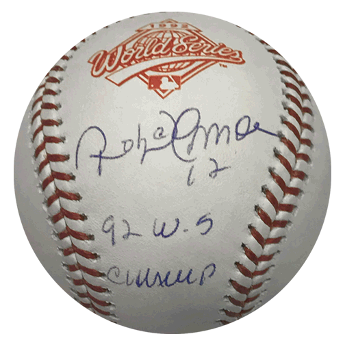 Roberto Alomar Autographed 1992 World Series Official Major League Baseball (JSA) World Series Champs Inscription