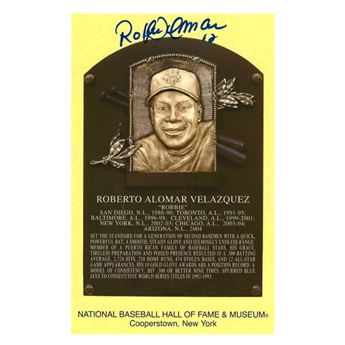 Roberto Alomar Autographed Hall of Fame Plaque Postcard (JSA)