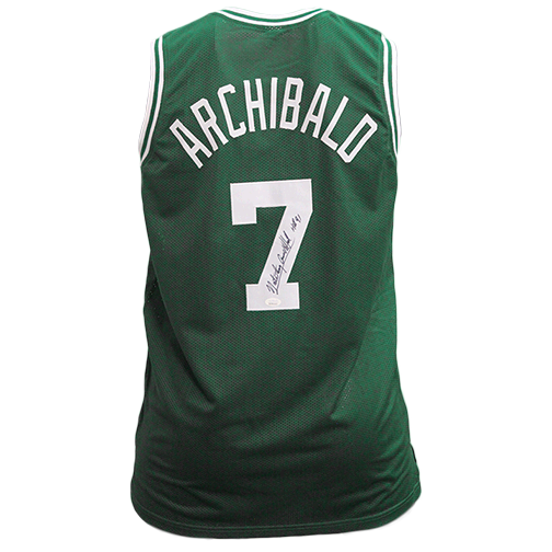 "Nate Archibald Boston Pro Style Autographed Basketball Jersey Green (JSA COA) ""HOF"" Inscription Included"