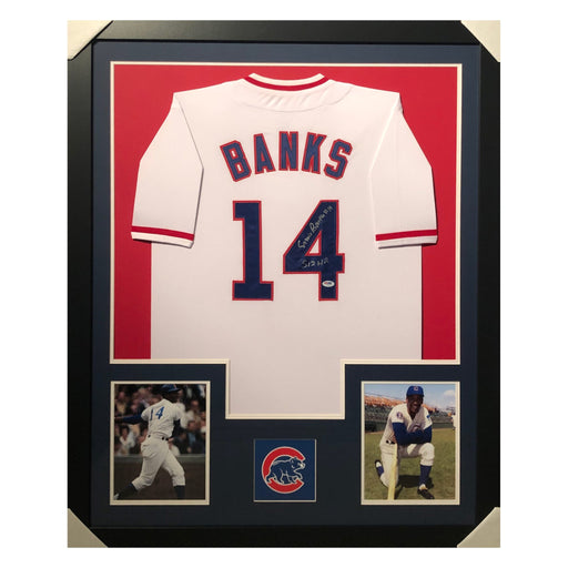 banks cubs 512 hr white autographed framed baseball jersey