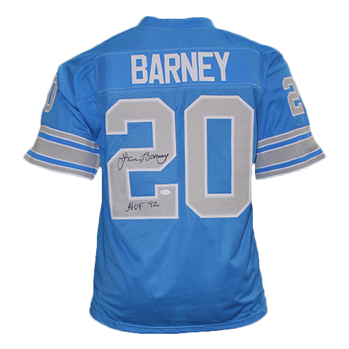 Lem Barney Autographed Football pro style Jersey Blue (JSA) HOF Inscription Included