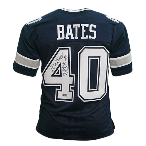 Bill Bates Autographed Pro Style Football Jersey Blue (RSA) RARE 3x SUPER BOWL INSCRIPTION INCLUDED