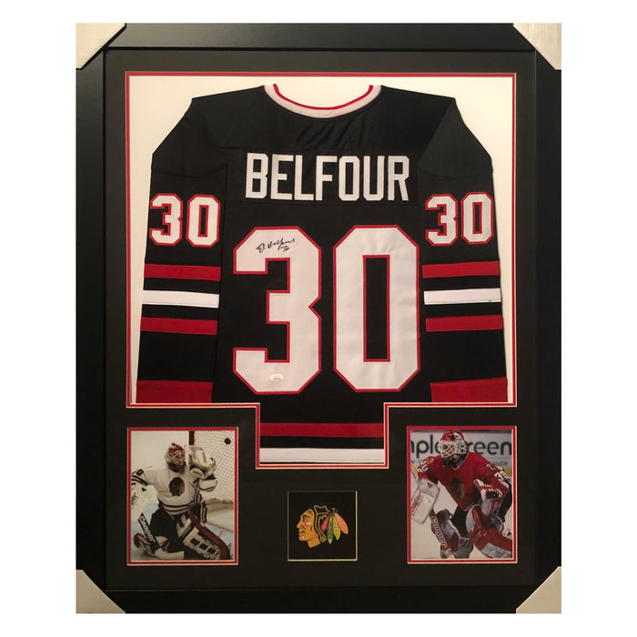 belfour blackhawks black autographed framed hockey jersey