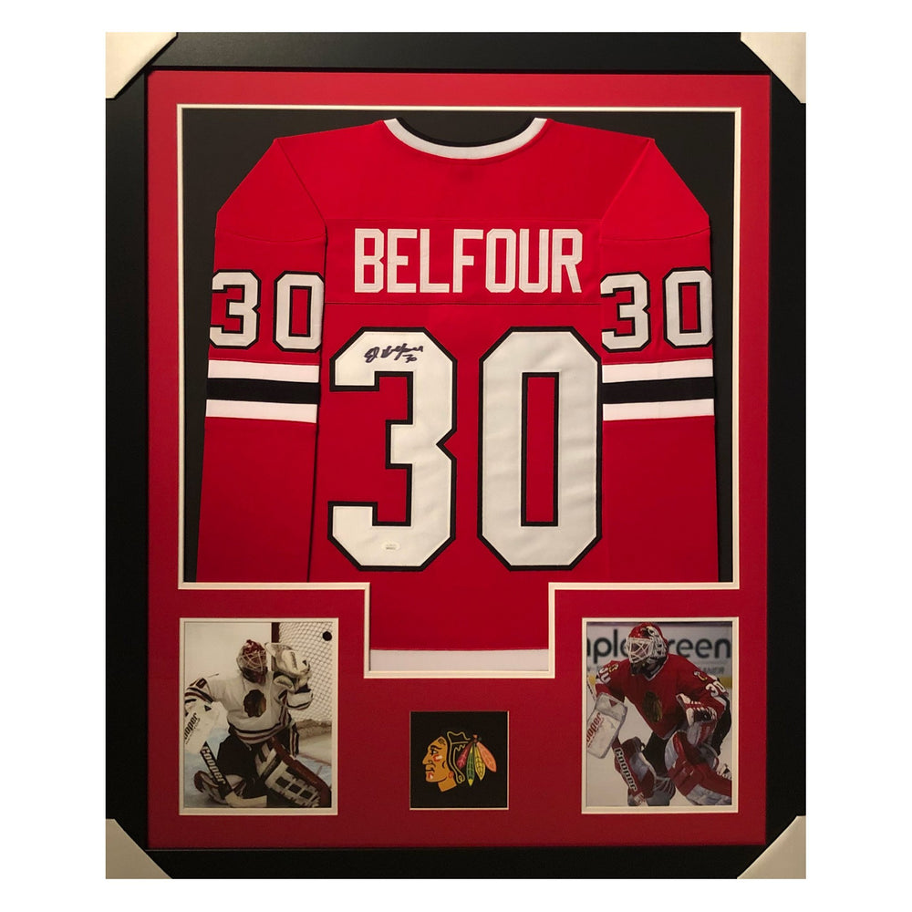 belfour blackhawks red autographed framed hockey jersey
