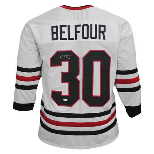 Ed Belfour Autographed White Chicago Pro Style Hockey Jersey JSA