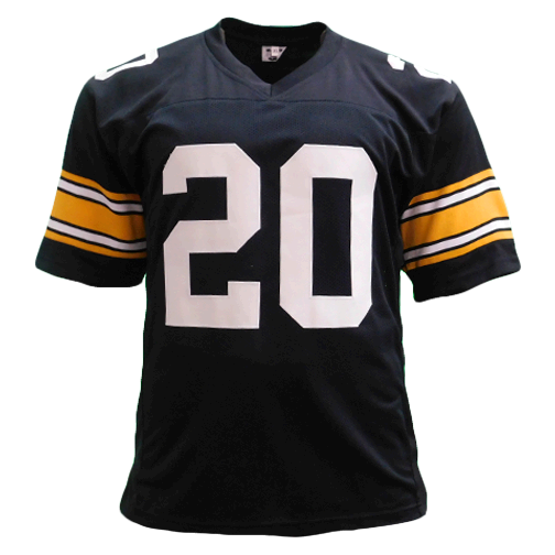 Rocky Bleier Autographed Pro Style Football Jersey Black (Beckett) 4X Super Bowl Champ Inscription