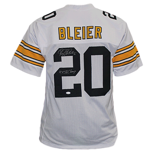 Rocky Bleier Autographed Pro Style Football Jersey White (JSA) 4X Super Bowl Champ Inscription