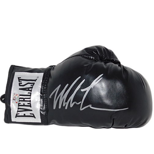 Mike Tyson Autographed Black Boxing Glove Signed in Silver (TYSON HOLO)