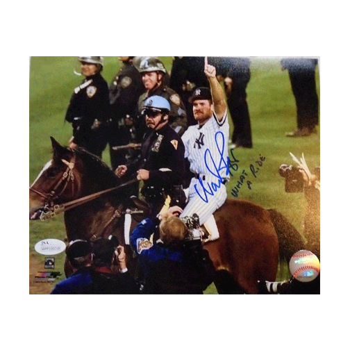 "Wade Boggs Autographed Yankees 96 World Series Baseball 8 x 10 Photo (JSA COA) with ""What a Ride"" Inscription"