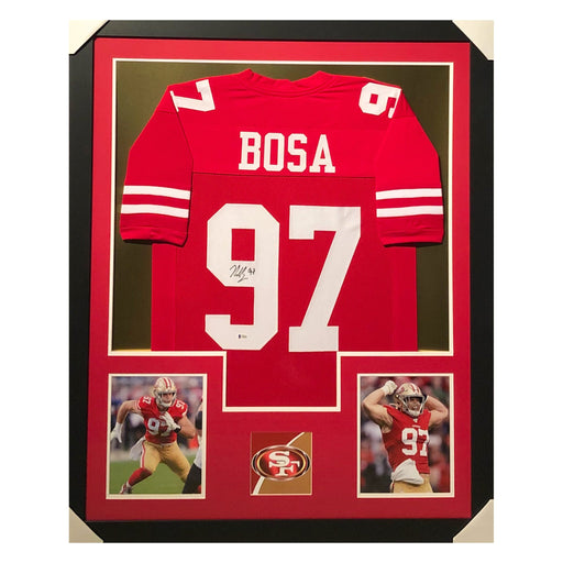 bosa 49ers red autographed framed football jersey