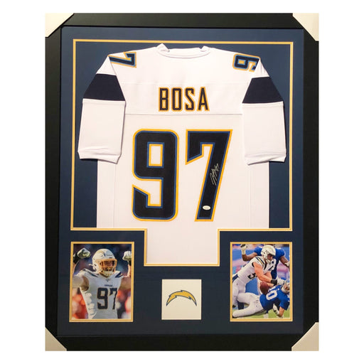 bosa chargers white autographed framed football jersey