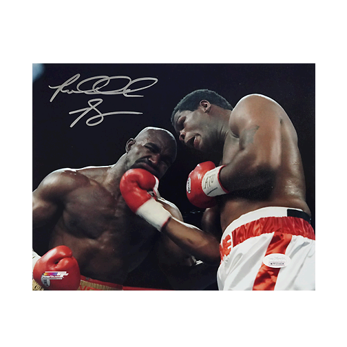 Riddick Bowe Signed Holyfield Uppercut 8x10 Photo (JSA)