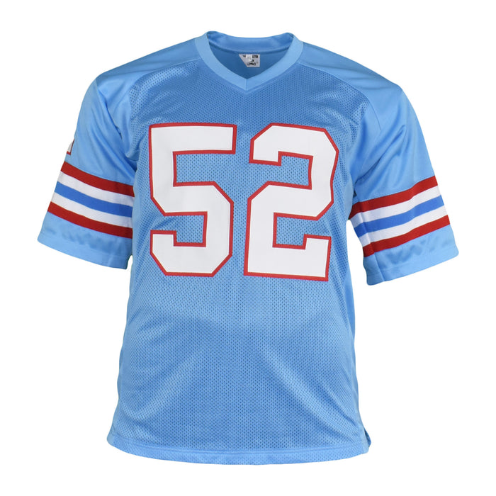 Robert Brazile Signed HOF 18 Inscription Pro Edition Blue Football Jersey (JSA)
