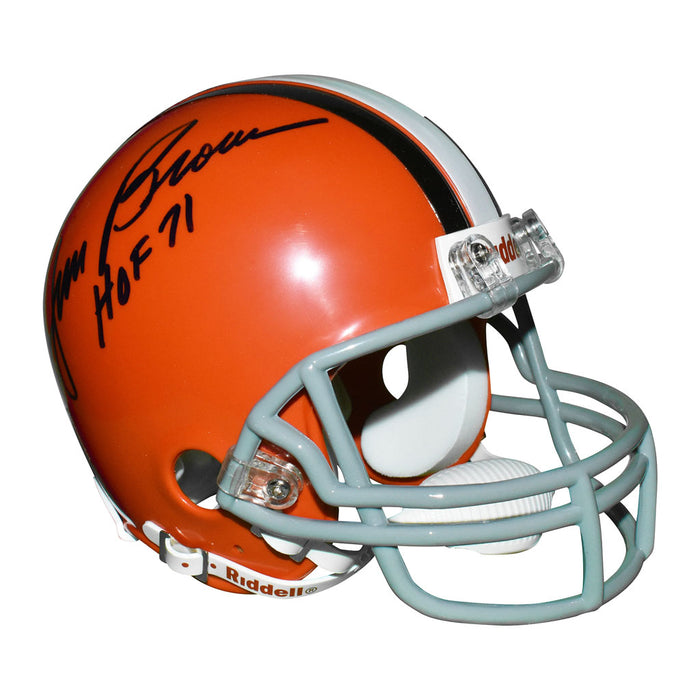 Jim Brown Signed HOF 71 Inscription Cleveland Browns Mini Replica Orange Football Helmet (JSA)